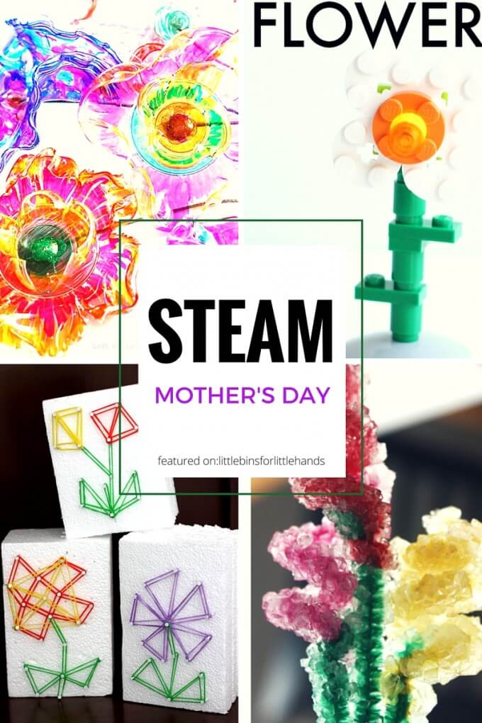 STEAM Inspired Mothers Day gifts kids can make and give with Spring and Flower STEM activities