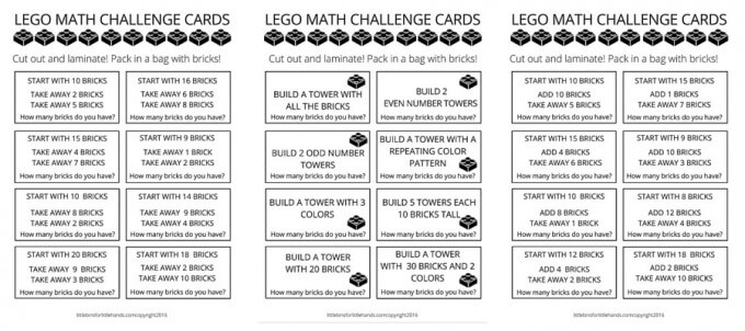 LEGO math challenge cards page 2