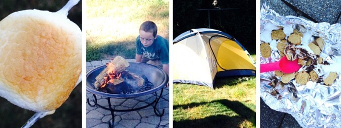 outdoor family activities backyard camping and s'mores