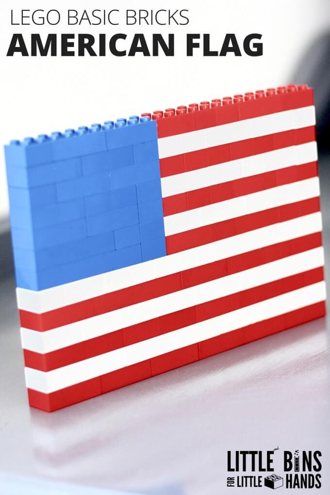 LEGO American Flag Building Activity with Basic Bricks