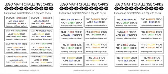 LEGO math challenge cards page 1