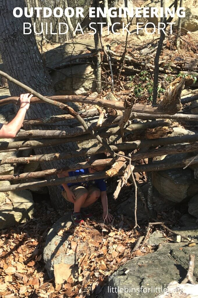 Building stick forts for outdoor family time this summer