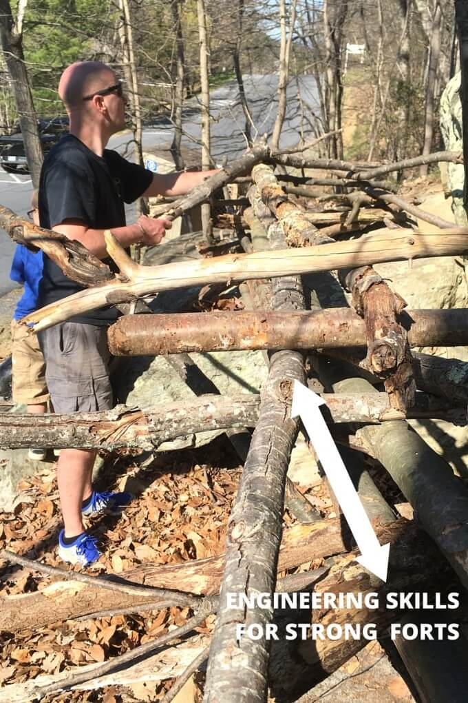 Building stick forts encourages problem solving and building skills for STEM