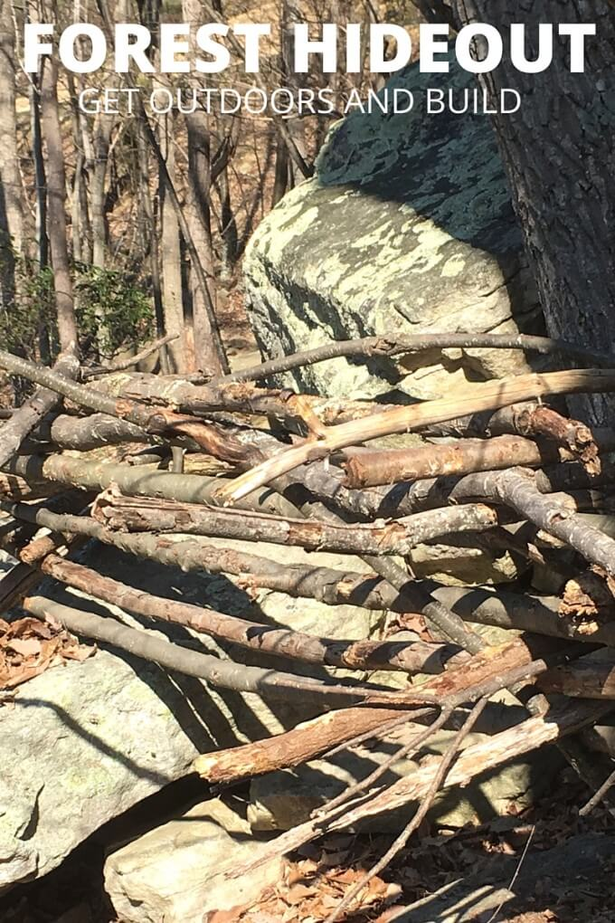 Building stick forts for screen free time outdoor activity