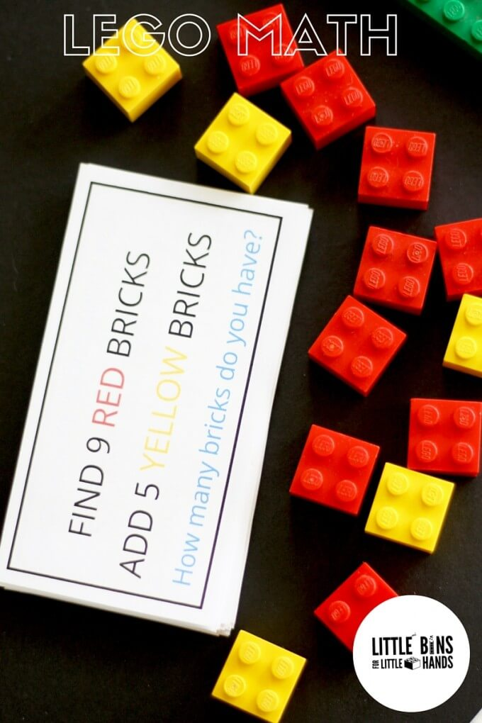 LEGO math activity for kids with free printable LEGO cards