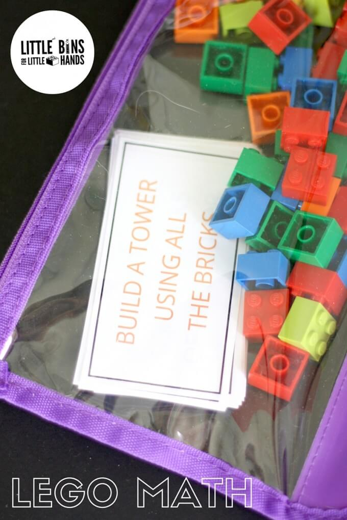 LEGO math busy bag activity