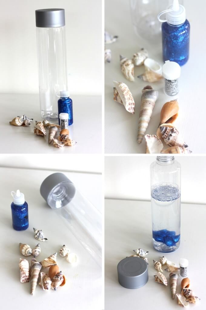 materials needed to make ocean in a bottle