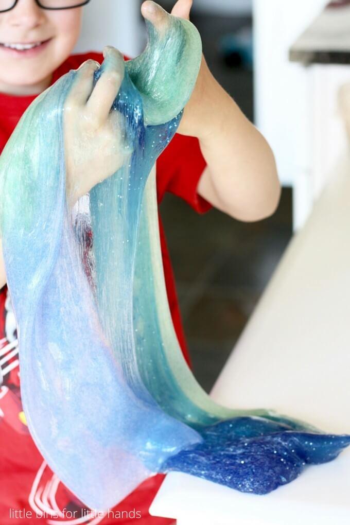 Summer sensory play make ocean slime for kids!