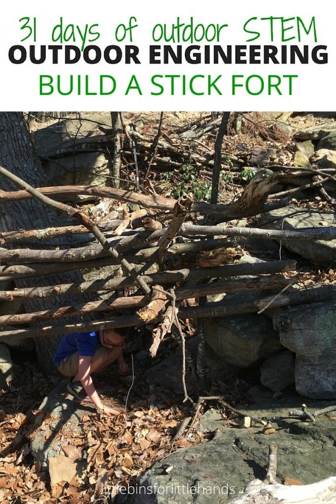 Build a Stick Fort Outdoor Engineering and STEM project for kids using natural materials