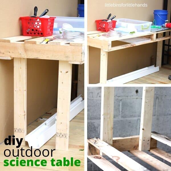 DIY pallet outdoor science table for kids STEM