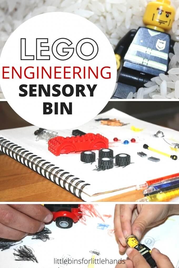 Engineering LEGO Sensory Bin STEM Fine Motor Play