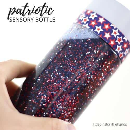 Patriotic Sensory Bottle for Memorial Day 4th of July Activity for Kids