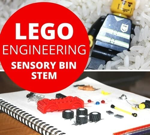 Engineering LEGO Sensory Bin and Kid's STEM Activity