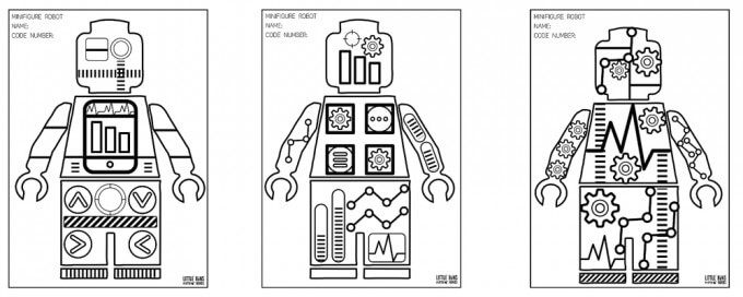 Free Minifigure Robot Coloring Sheets for Kids