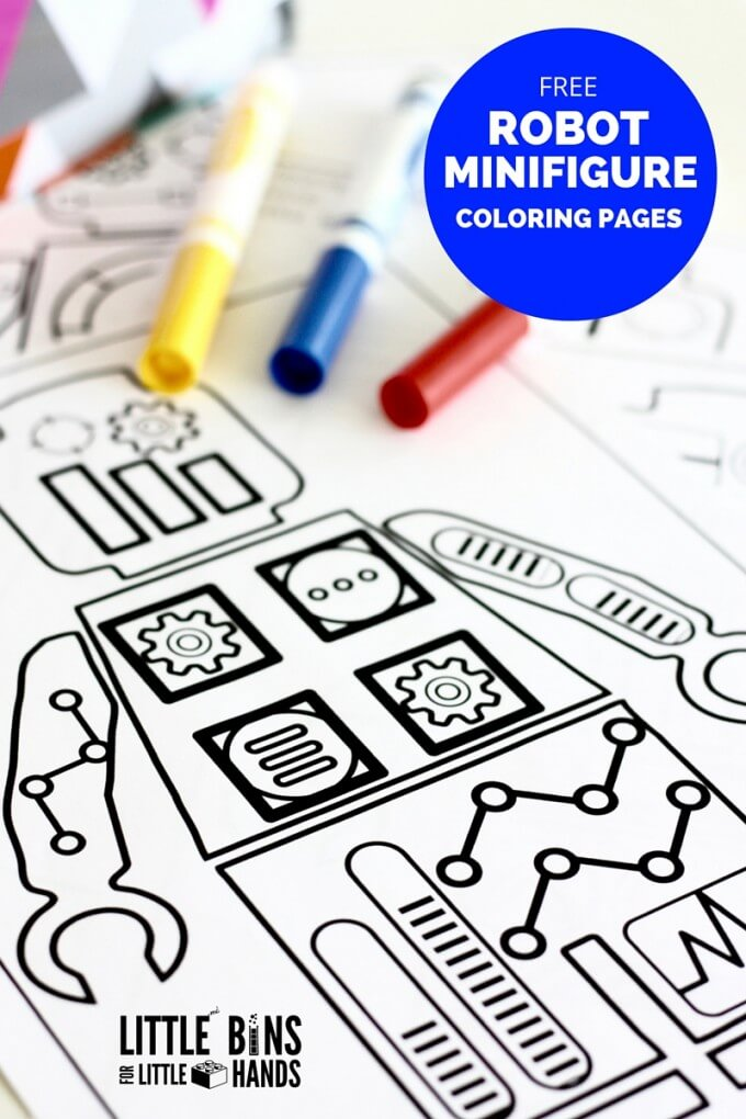 Free Robot Coloring Pages and Design Coloring Page for Kids
