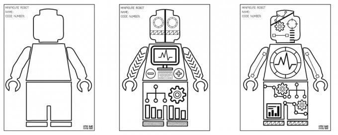 free lego minifigure robot coloring pages for kids