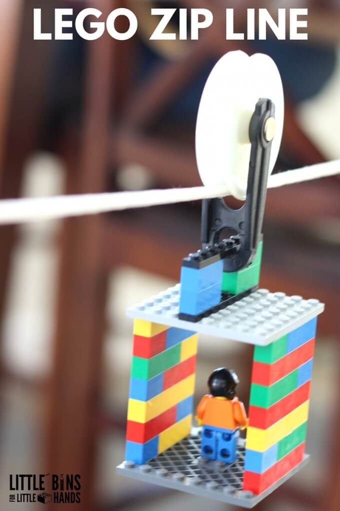 Build a LEGO zip line for kids STEM activities. LEGO and STEM go together. This STEM challenge uses a simple pulley to make a toy zip line. Explore physics with a homemade zip line and check out friction, energy, and motion. Science experiments and activities perfect for young kids including preschool, kindergarten, and early elementary age kids.