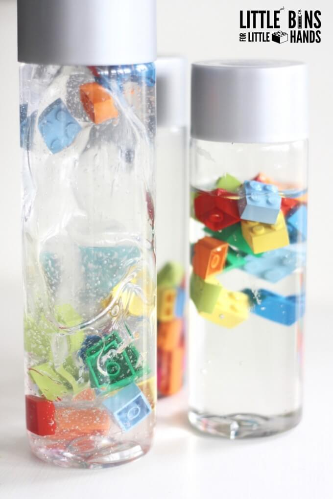 LEGO discovery bottles exploring viscosity with hair gel