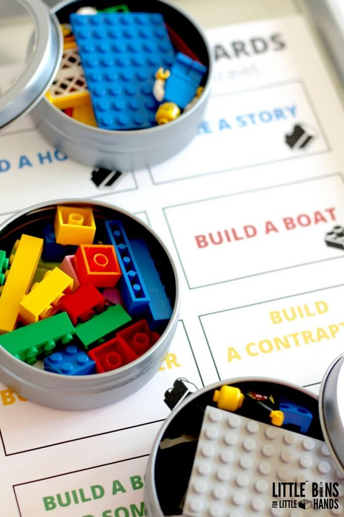 42 LEGO Crafts and Activities for Kids for Endless Fun featured by top US lifestyle blogger, Marcie in Mommyland: LEGO Travel Tray and Challenge Cards