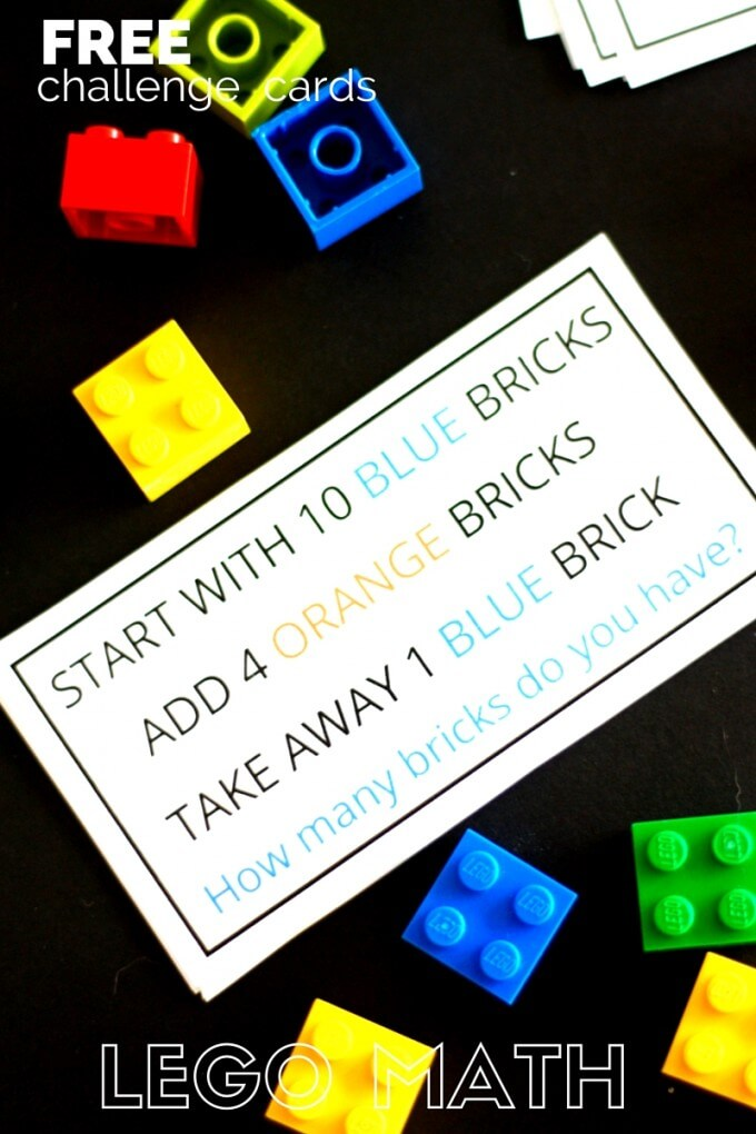 LEGO math challenge cards and LEGO math activity kindergarten and grade school age kids