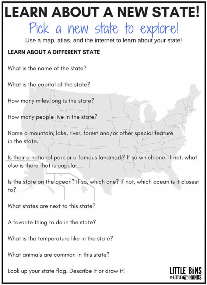 geography scavenger hunt a different state