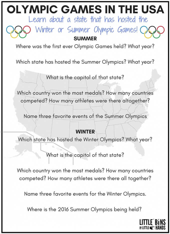 geography scavenger hunt states hosting Olympics