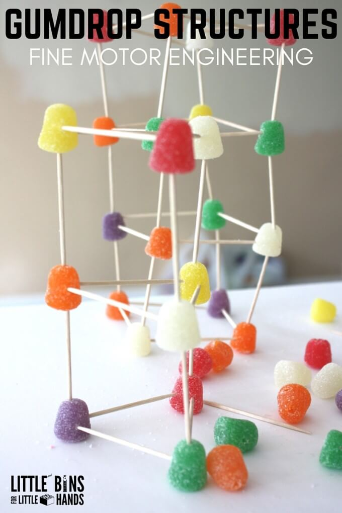 Building gumdrop structures engineering activity for kids STEM