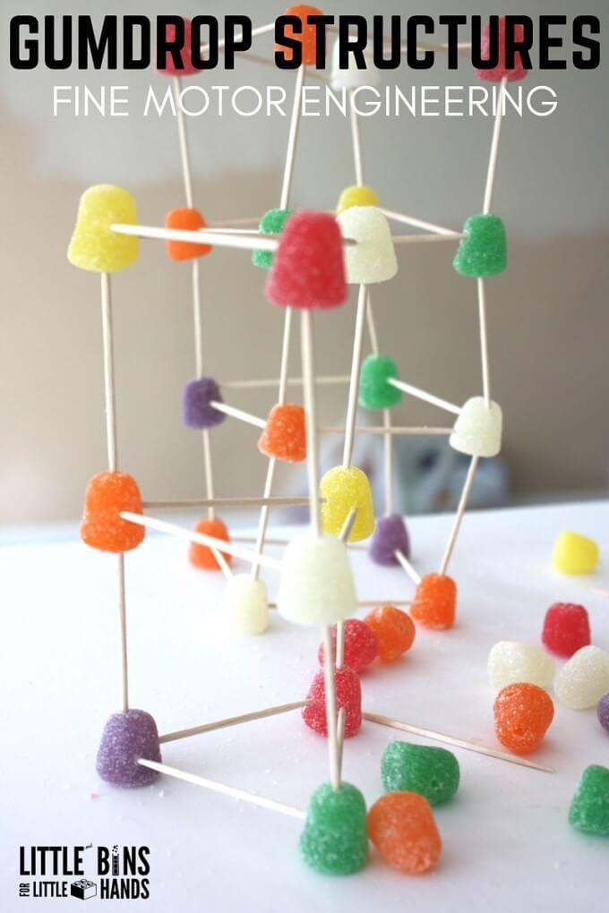Building gumdrop structures engineering activity for kids STEM