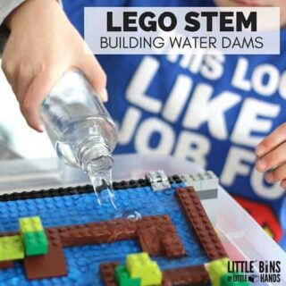 Building water Dams LEGO STEM activity