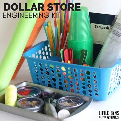 Dollar Store Engineering Kit for Kids STEM Ideas and Summer STEM projects