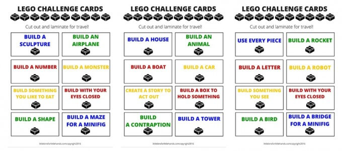 Free LEGO Travel Challenge Cards Printables
