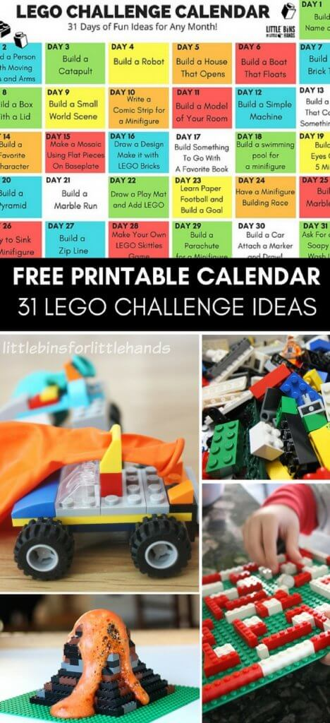 Free Printable Lego Challenge Calendar For Kids Our 31 Day Is Filled With