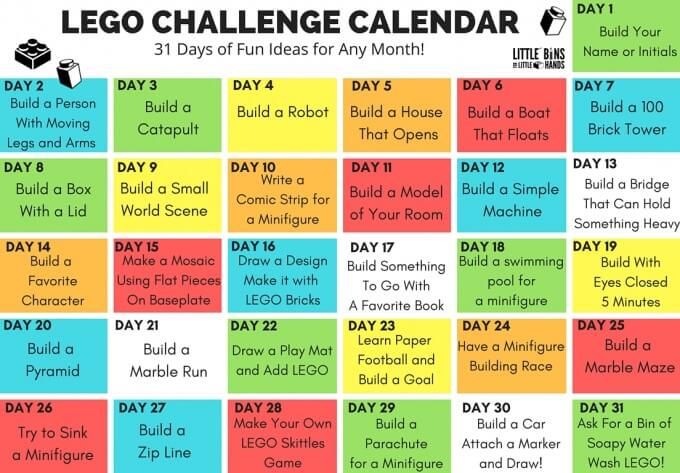 LEGO Challenge Calendar Ideas for Kids