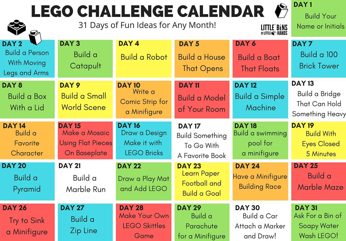 Lego Challenge Calendar Free Printable Lego Stem For Kids