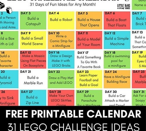 Printable LEGO Challenge Calendar Ideas for Kids
