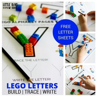 LEGO Letter activity printable sheets free letter building pages