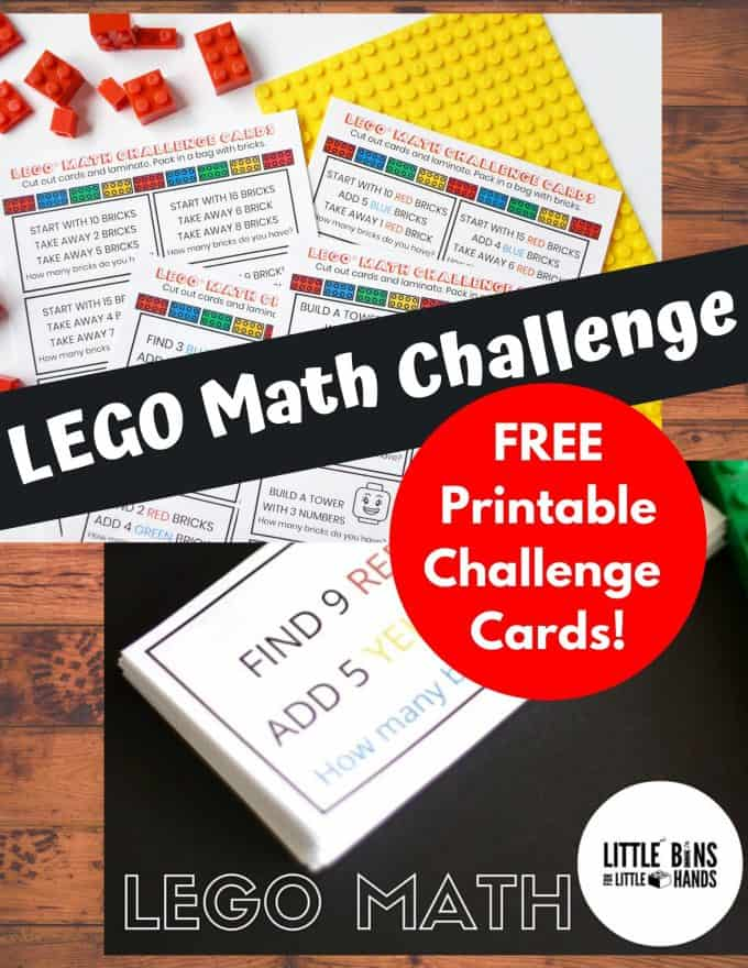 Free LEGO math challenge cards for basic math skills!
