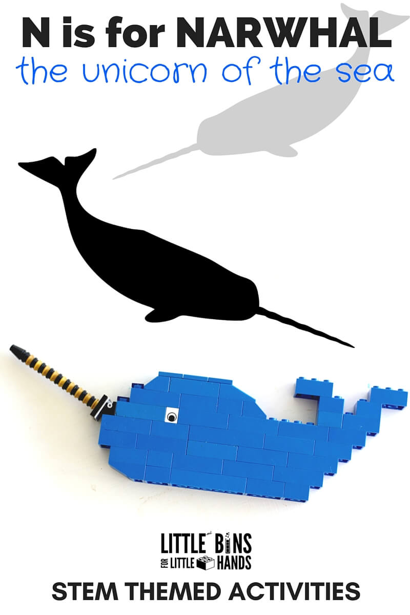 Narwhal activities for kids including LEGO narwhal and STEM ideas