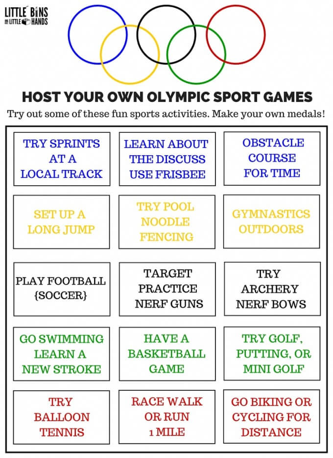 Olympic Sports Activities Games Printable Activity Sheet Gross Motor Summer Play-2