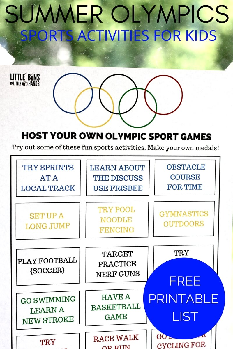 graphic regarding Printable Olympic Schedule titled Olympic Sports activities Things to do Printable for Youngsters Summer months Olympics