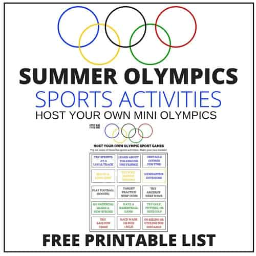 SUMMER OLYMPICS Sports Activities for Kids Printable
