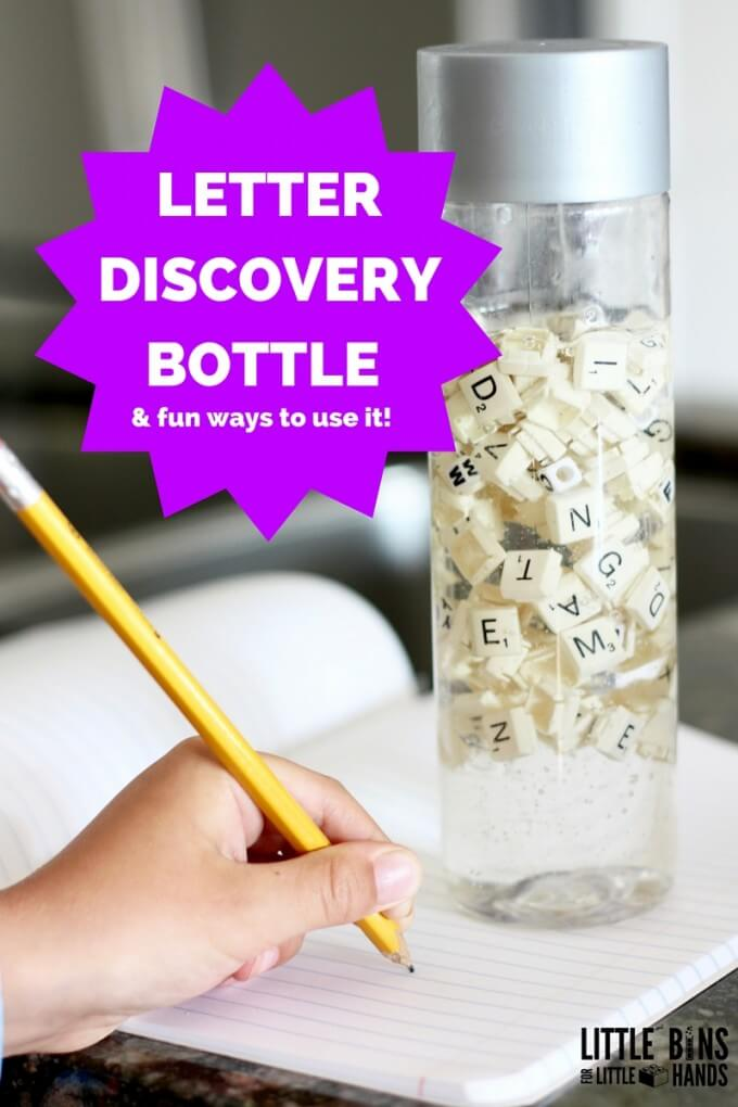 Letter discovery bottle writing practice and letter number recognition for kids