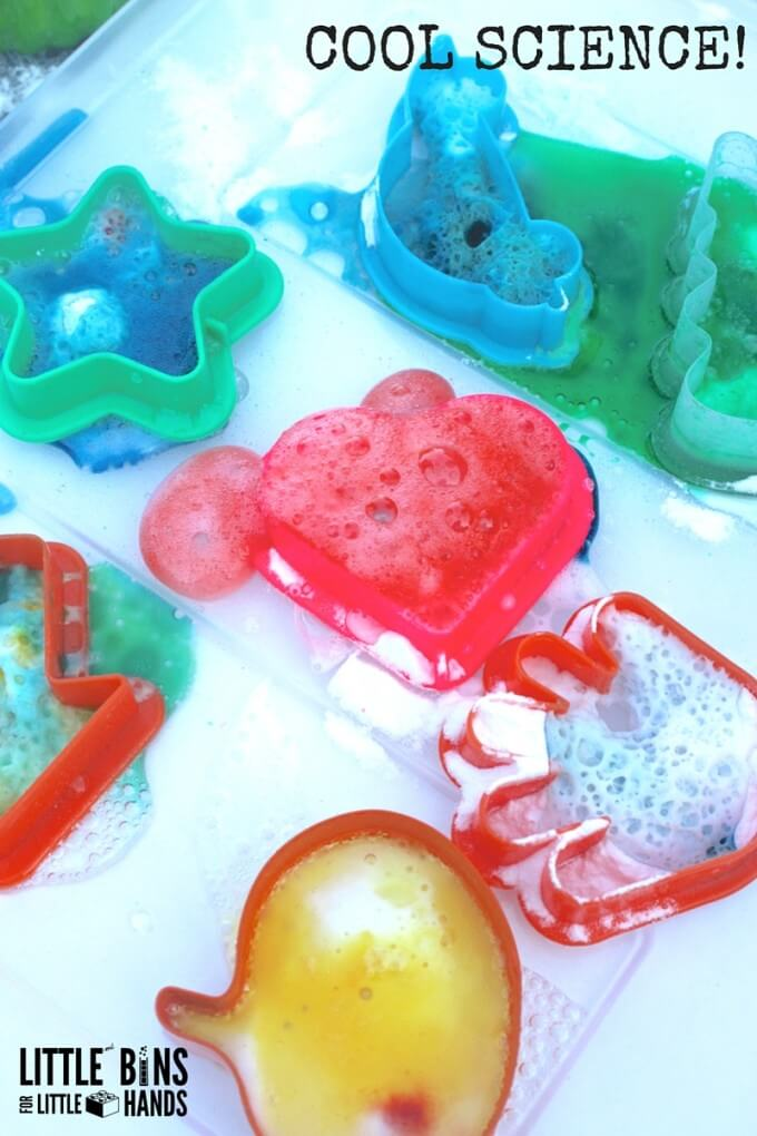 Baking soda science with cookie cutters for easy kitchen science