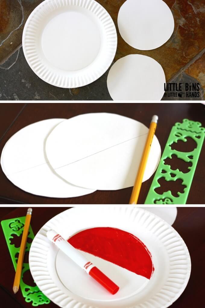 Paper Plate Poke Ball Craft Set Up