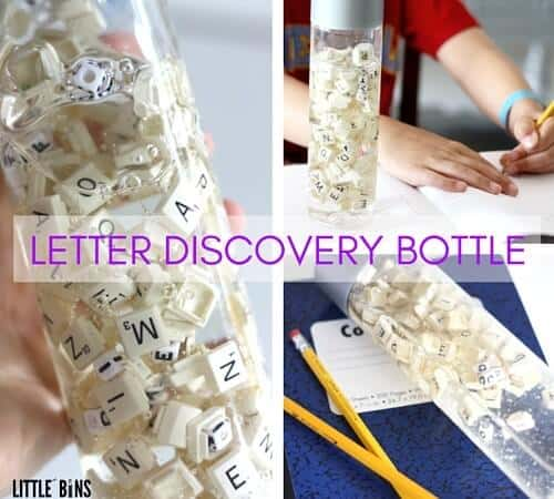 Letter Discovery Bottle and Writing Practice for Kids