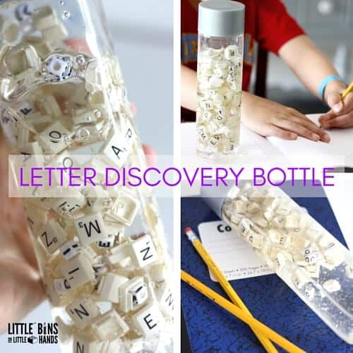 Letter Discovery Bottle Writing practice Sensory Bottle