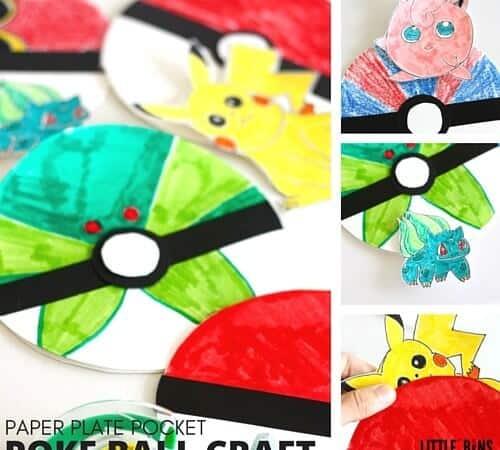 Paper Plate Poke Ball Craft