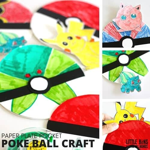 Paper Plate Poke Ball Craft and Pokemon Activity for Kids