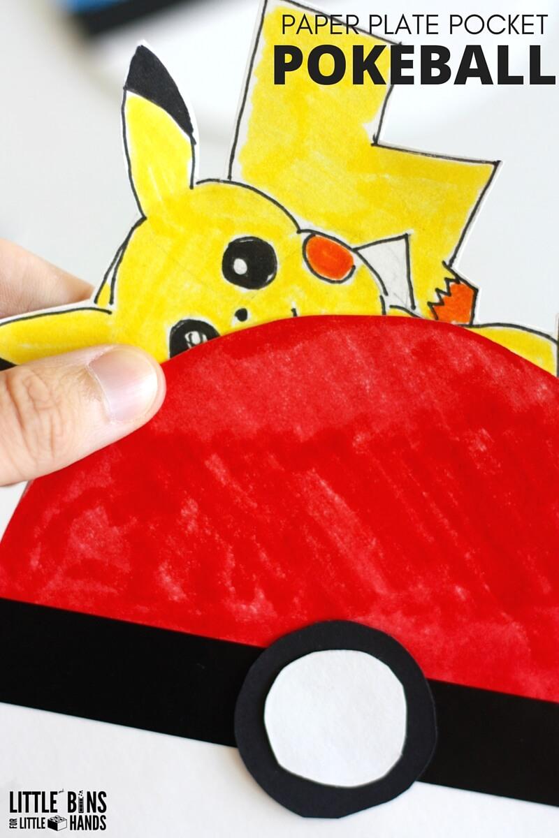 Paper plate poke ball pokemon activity for Pokemon crafts for kids