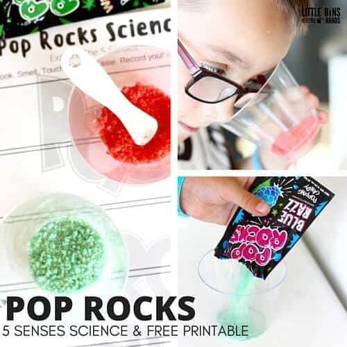 Pop rocks 5 senses for edible science with kids